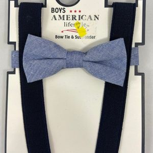 Other - American Lifestyle Boys Blue Bow Tie & Suspenders